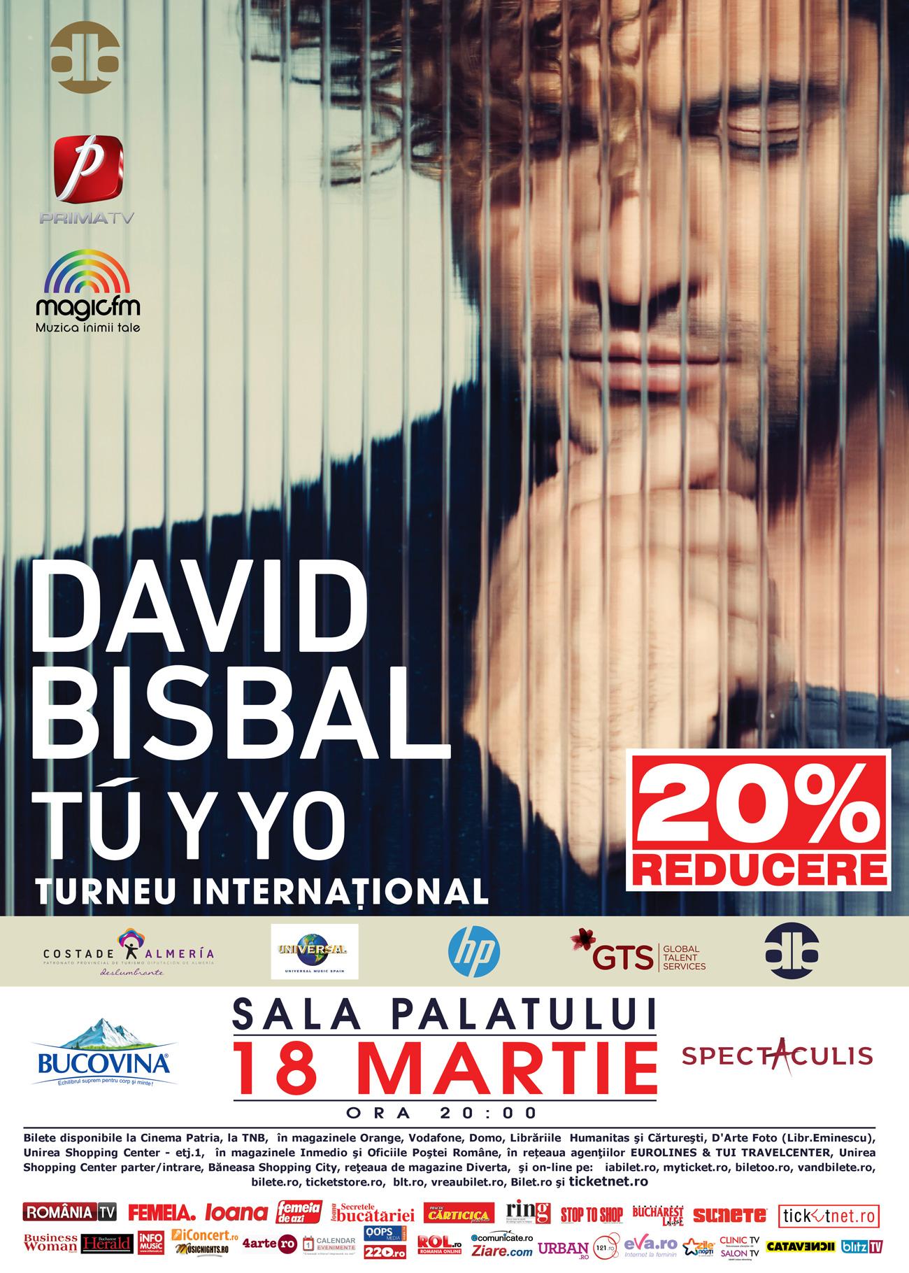 Pana pe 8 martie,  bilete cu reducere la concertul DAVID BISBAL!