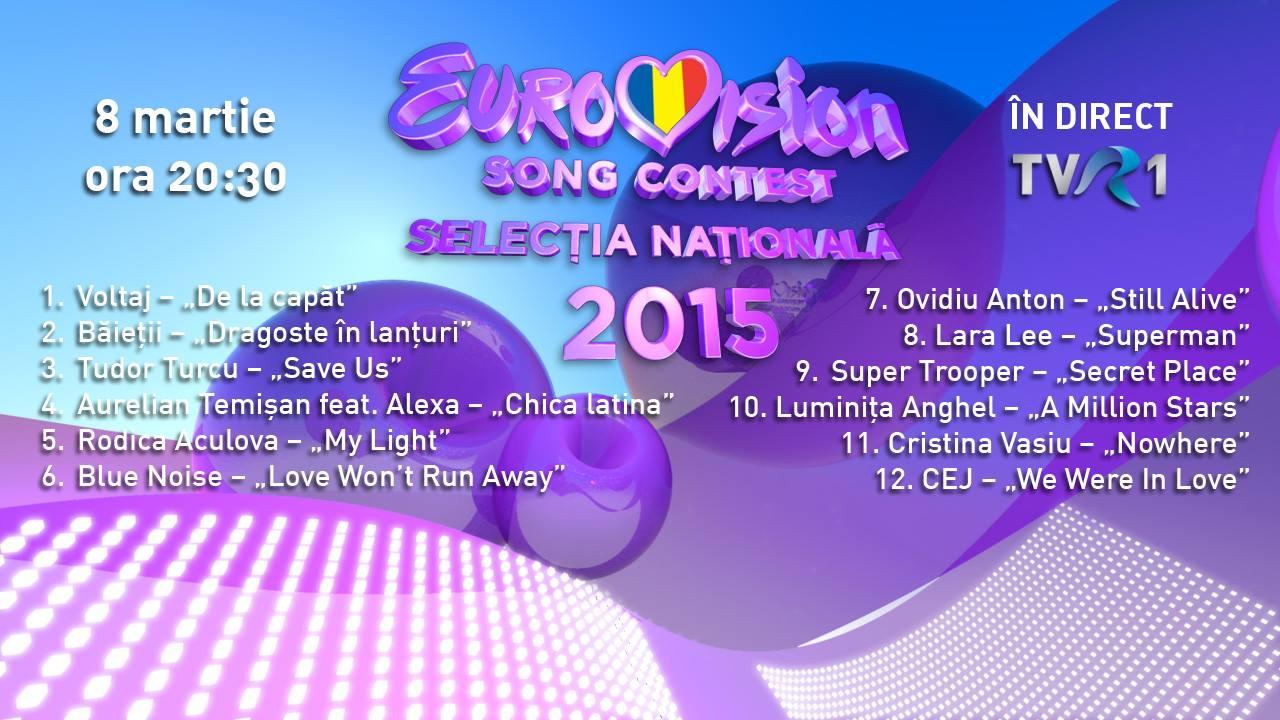 Eurovision Romania 2015: ordinea intrarii in concurs