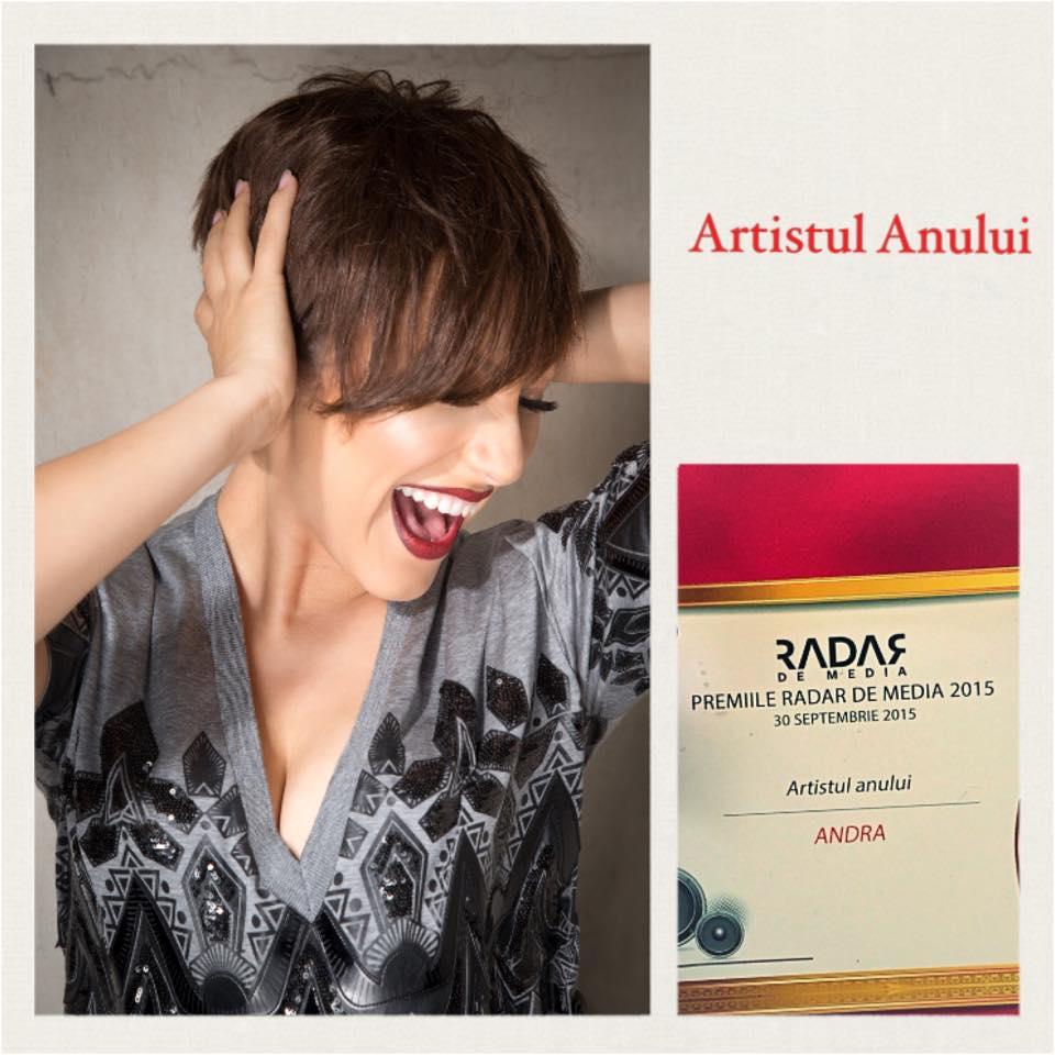 """Andra a castigat premiul """"Artistul Anului"""" la Gala Radar de Media"""