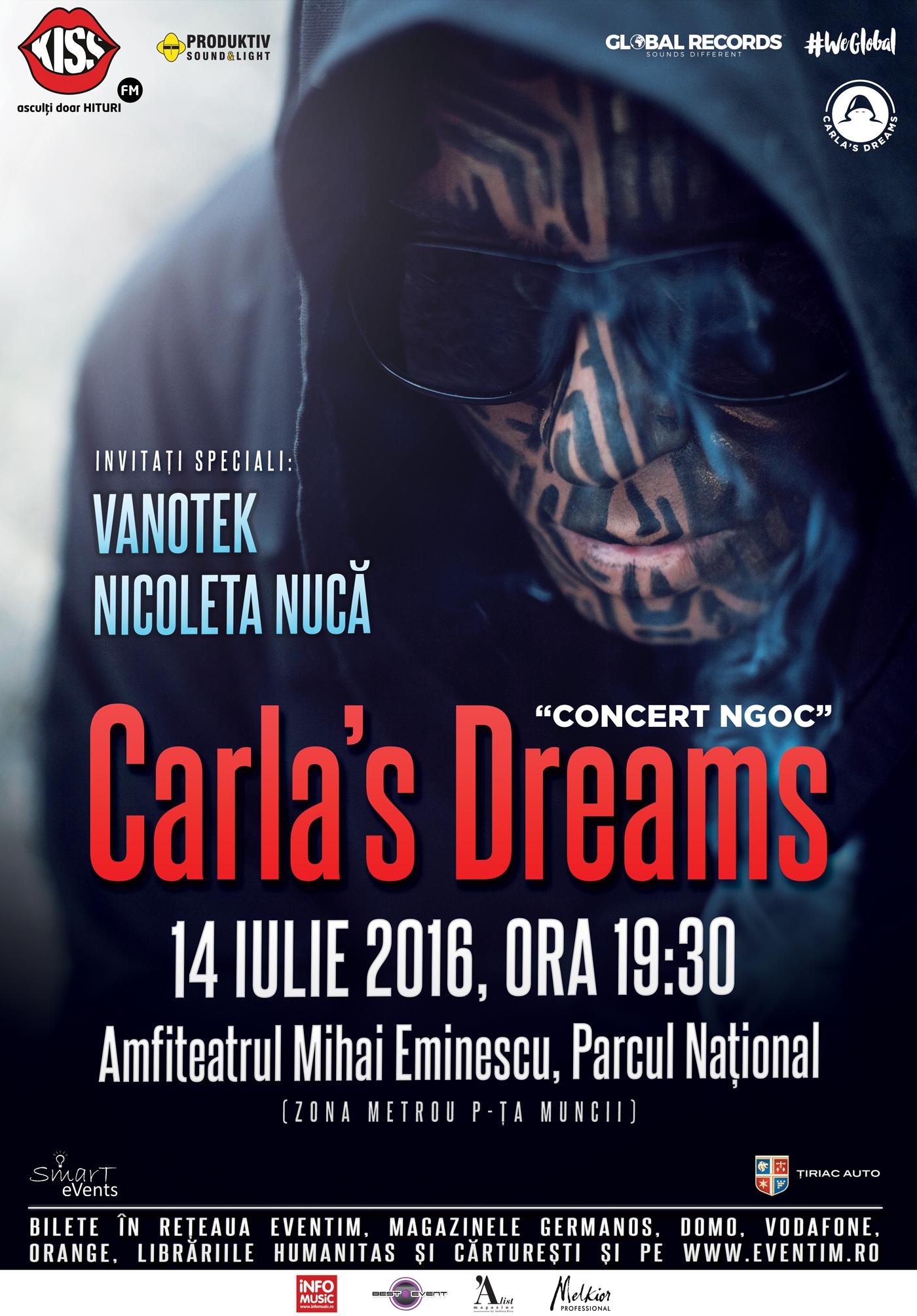"""FENOMENUL CARLA'S DREAMS CONTINUA. VARA ACEASTA CONCERT LA AMFITEATRUL """"MIHAI EMINESCU din BUCURESTI pe 14 iulie"""