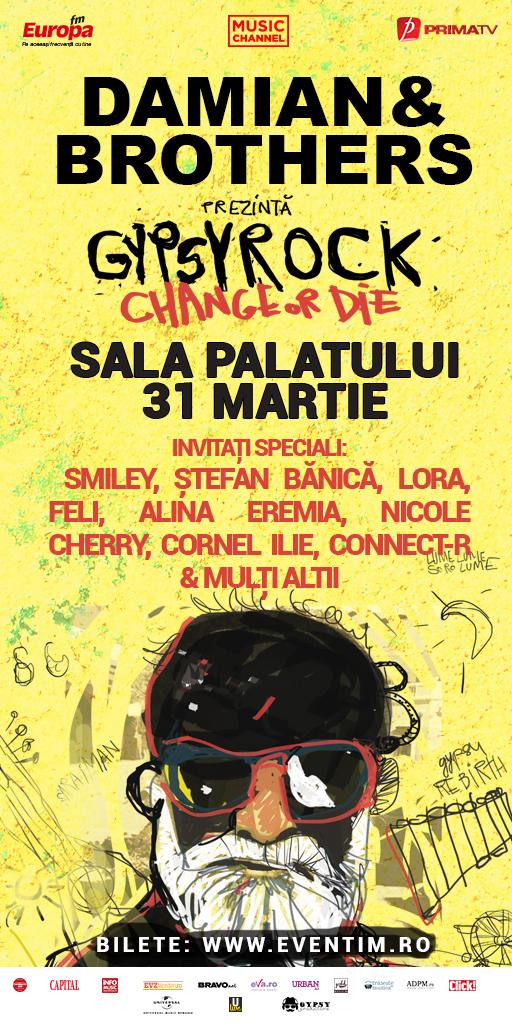"""Concertul """"Gypsy Rock (Change Or Die)"""" aduce cel mai mare numar de artisti prezenti pe scena Salii Palatului"""