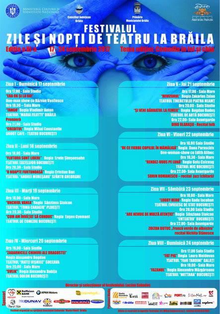 """Teatrul """"Maria Filotti"""" Braila deschide duminica, 17 septembrie, portile celei de-a XI-a editii a Festivalului """"Zile si Nopti de Teatru la Braila"""""""