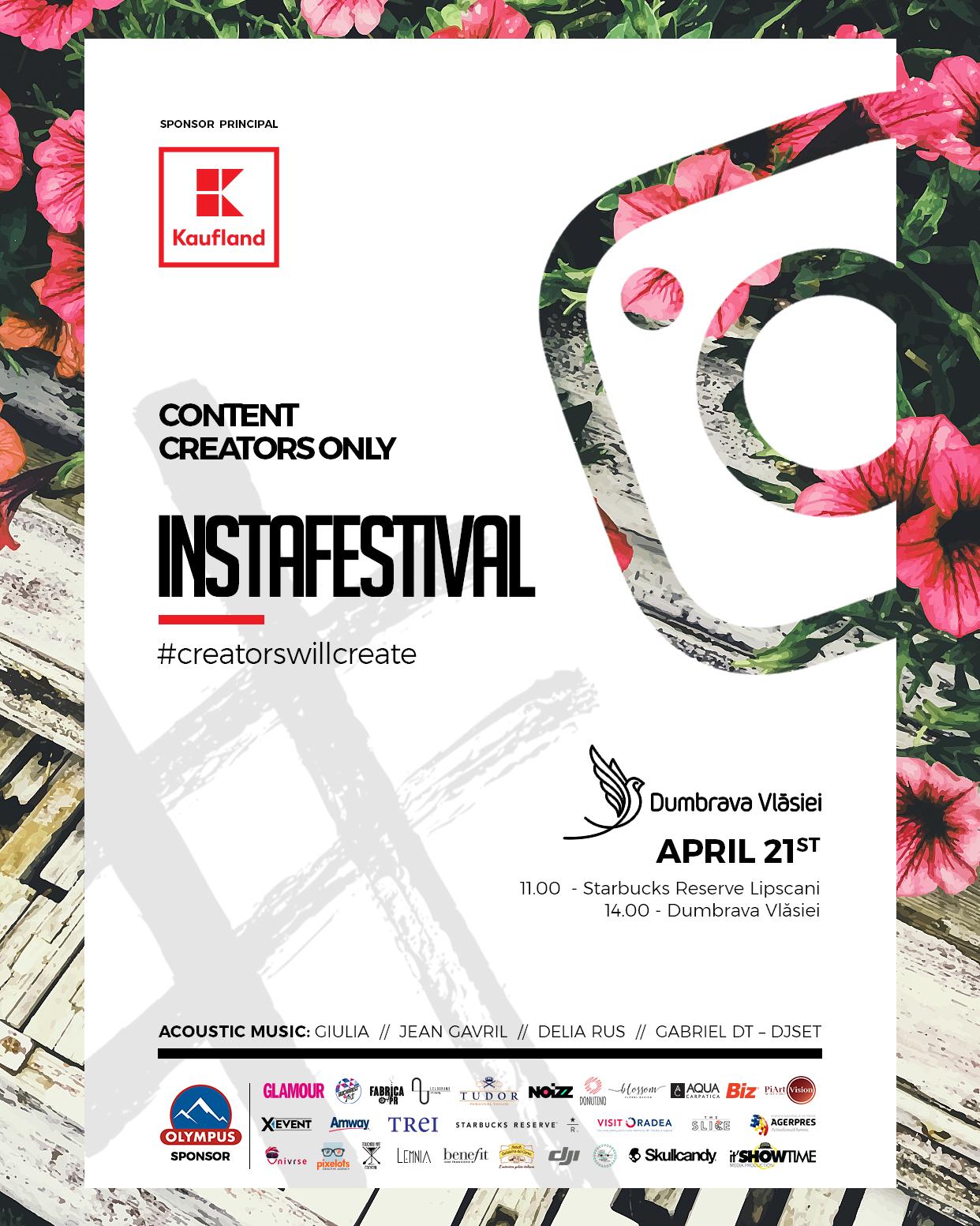 #Instafestival, primul festival dedicat comunitatii de instagrammeri din Romania, va avea loc sambata, 21 aprilie, in Dumbrava Vlasiei