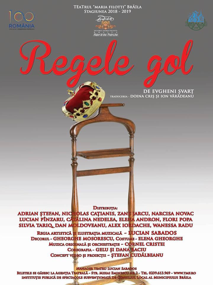 """""""Regele gol"""" isi asteapta publicul intr-o noua premiera a Teatrului """"Maria Filotti"""" Braila"""