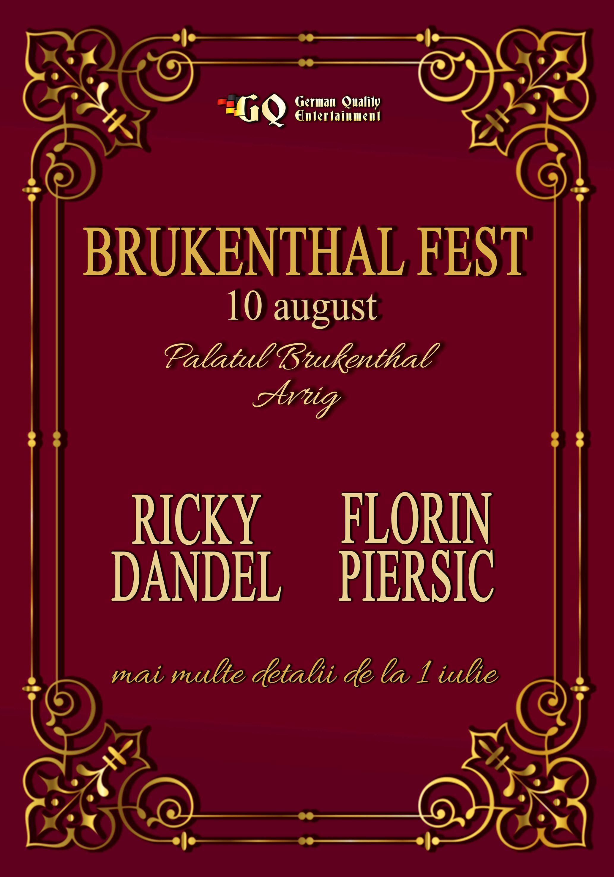 BRUKENTHAL FEST   Cincizeci de ani de cariera muzicala pentru Ricky Dandel. Special guest: Florin Piersic!