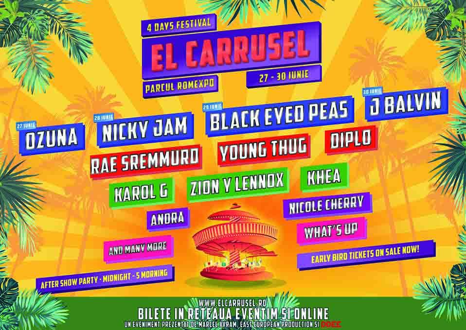 """BLACK EYED PEAS, DIPLO, KAROL G, YOUNG THUG, RAE SREMMURD, ZION Y LENNOX, KHEA noii artisti confirmati la Festivalul """"EL CARRUSEL"""" 2019"""