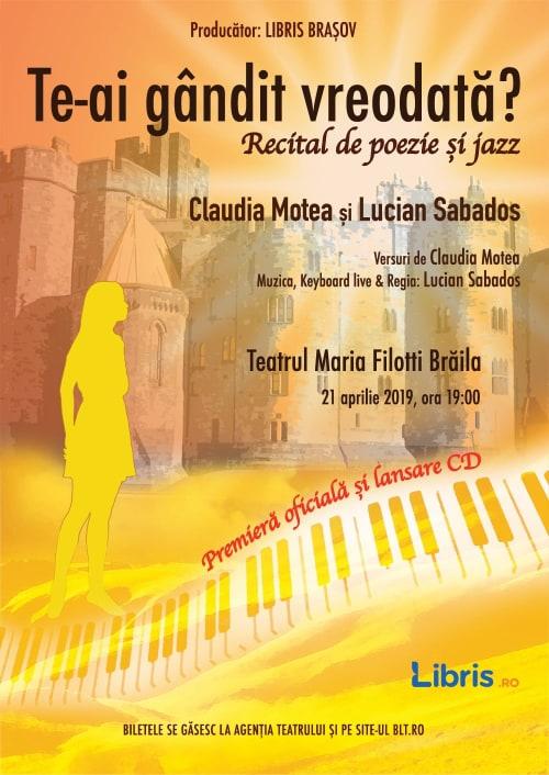 """Recital de poezie si jazz la Teatrul """"Maria Filotti"""" Braila"""