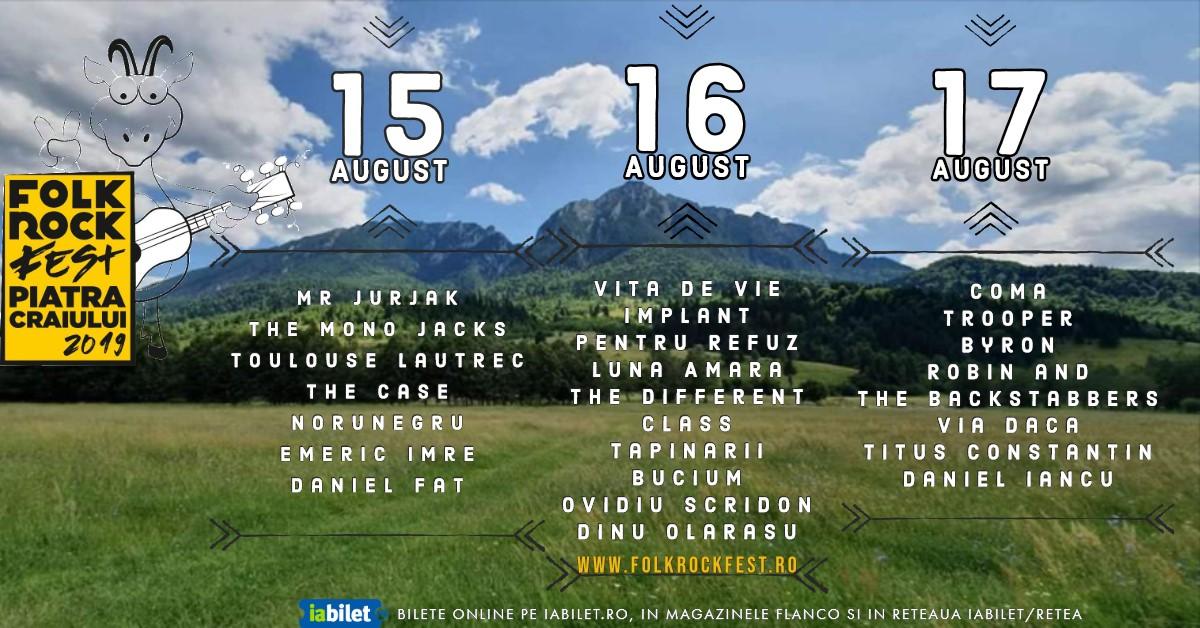 Folk Rock Fest Piatra Craiului anunta programul celor trei zile de festival – 15, 16, 17 august 2019, Parcul National Piatra Craiului