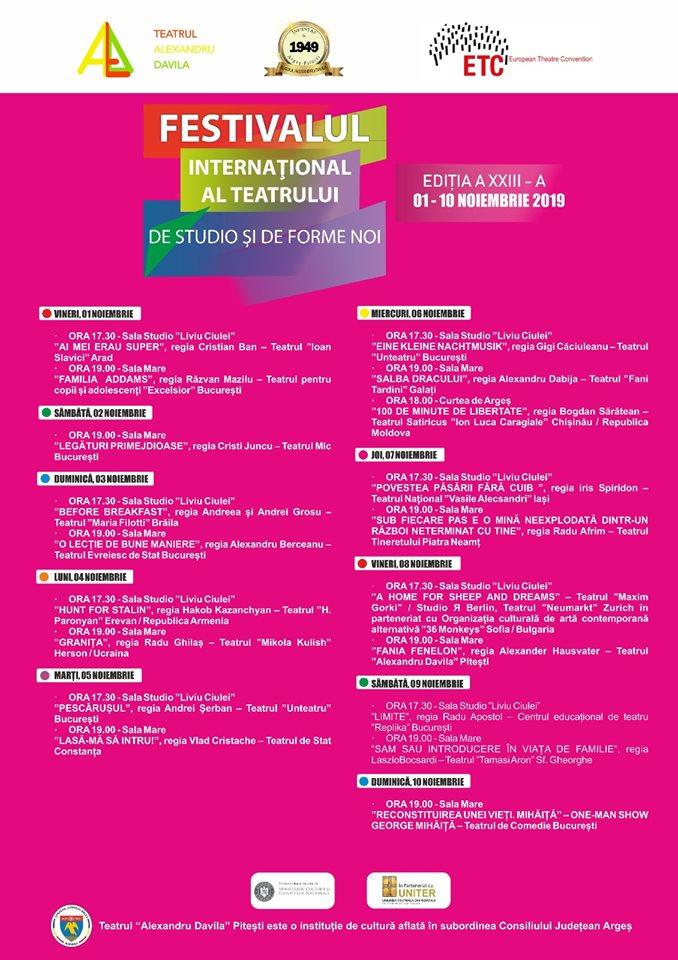Festivalul International al Teatrului de Studio si de Forme Noi la cea de-a de-a XXIII-a editie, la Pitesti