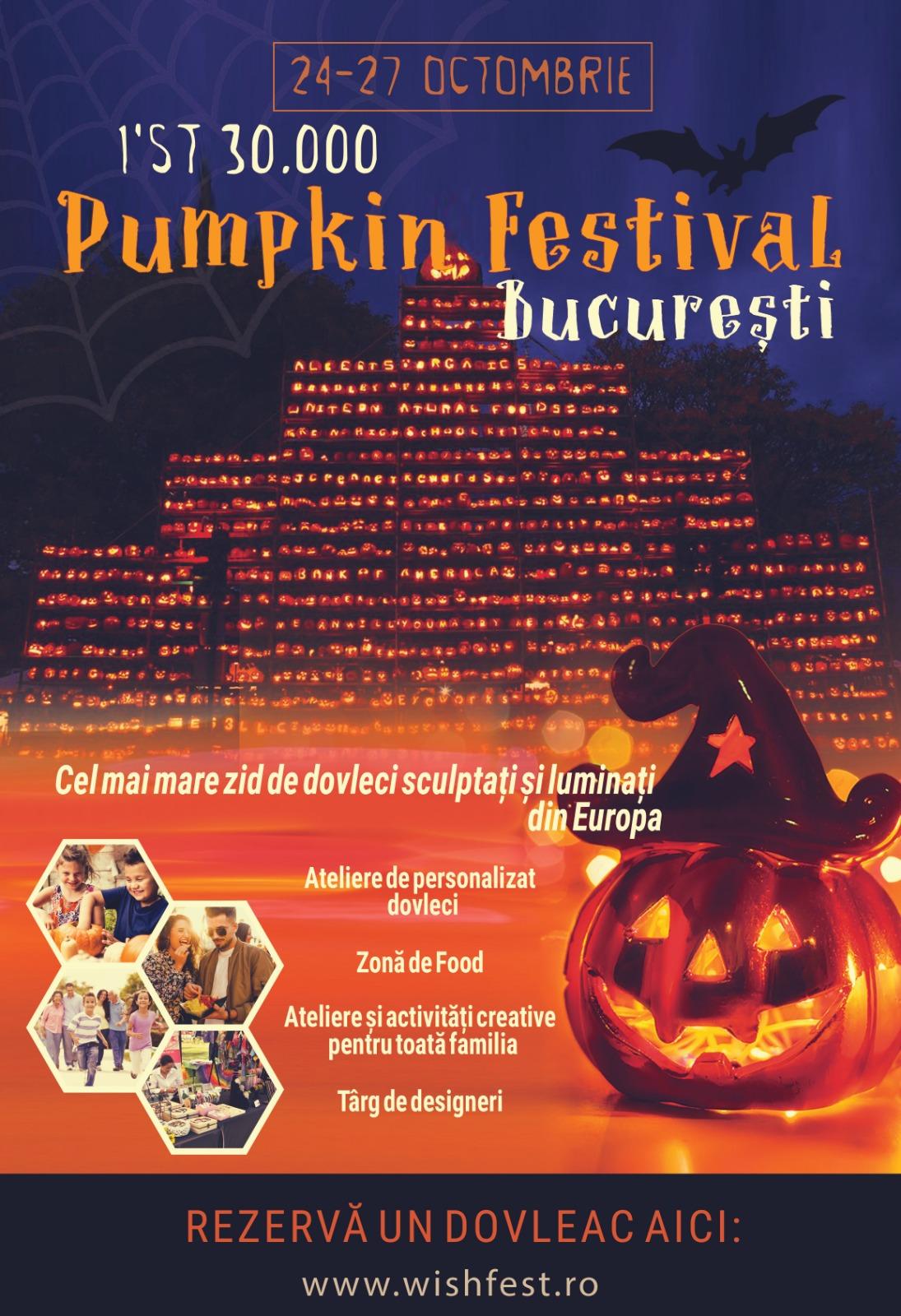 Cel mai mare zid de dovleci sculptati si iluminati din Europa la PumpkinFest, intre 24 si 27 octombrie,in Parcul Regele Mihai I (Herastrau) din Bucuresti