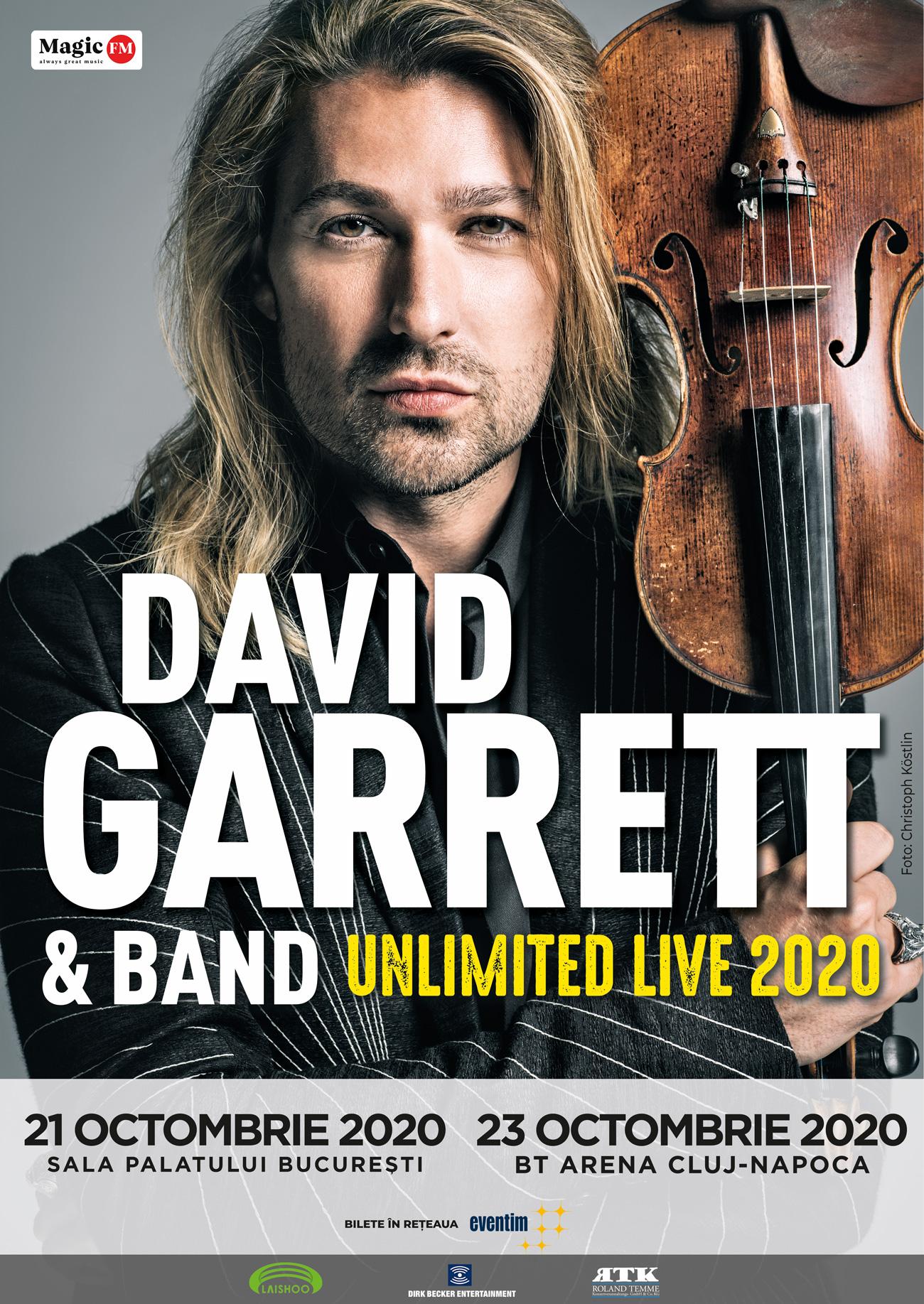 DAVID GARRETT va concerta in 2020 la Bucuresti si Cluj-Napoca