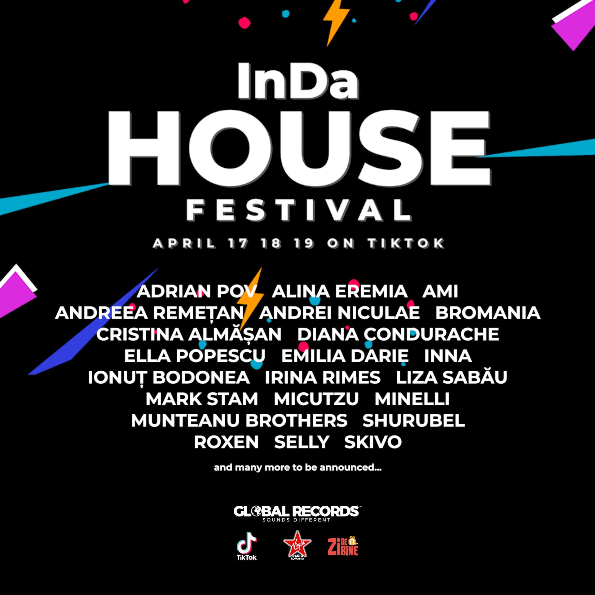 Global Records organizează primul festival online cu scop caritabil, pe TikTok, InDa House Festival!