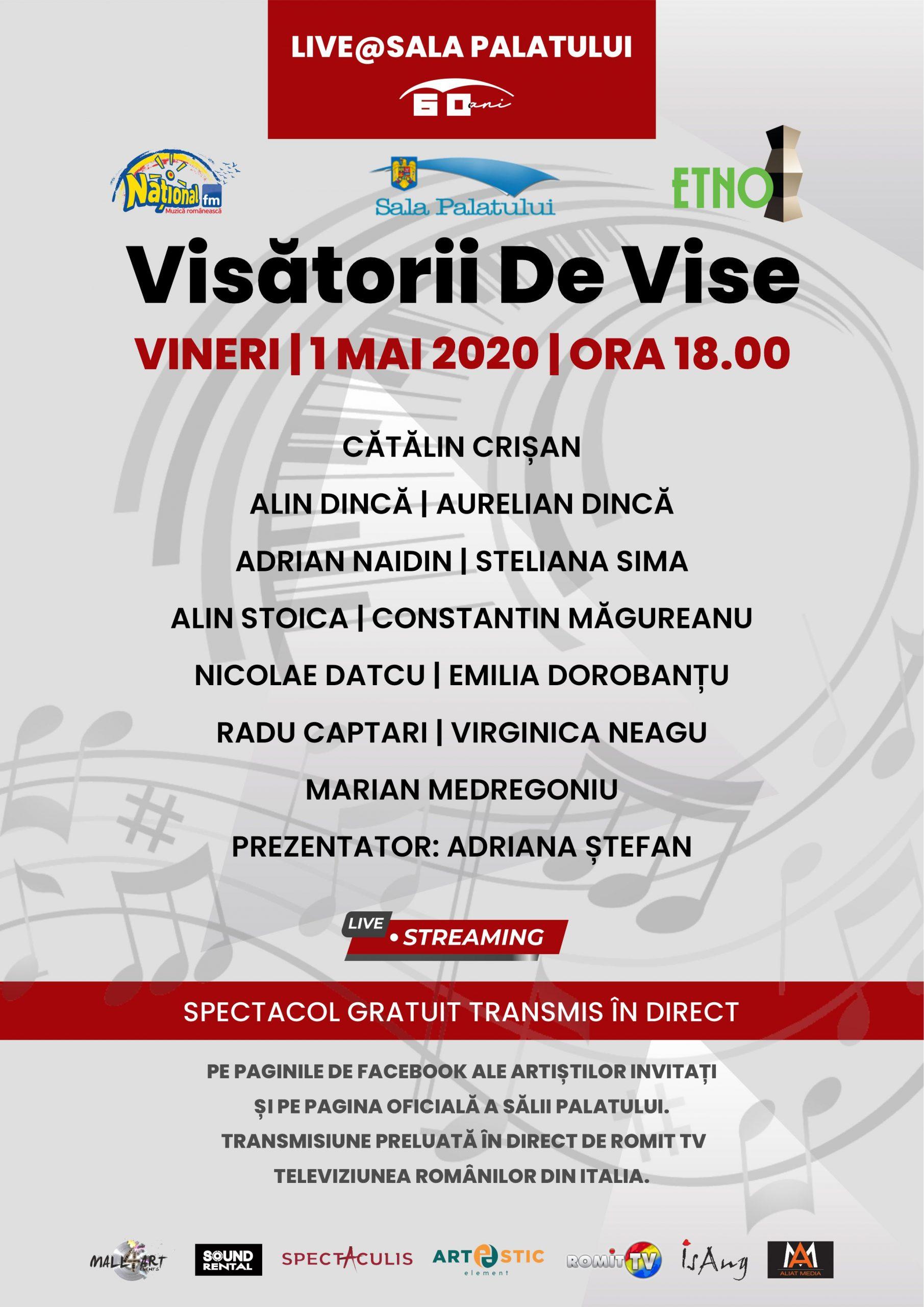 """Concert gratuit marca Sala Palatului – live """"Visătorii de vise"""""""